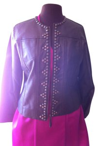 Ruby Rd. 10petite Soft Faux Leather Metallic Bronze Jacket