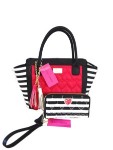 Betsey Johnson Black Bone Tassels Satchel in fuchsia/black/bone striped