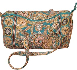 Vera Bradley Teal And Lime Green Pattern Travel Bag