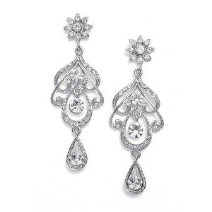 Mariell Silver Abstract Crystal Chandelier 3128e Earrings