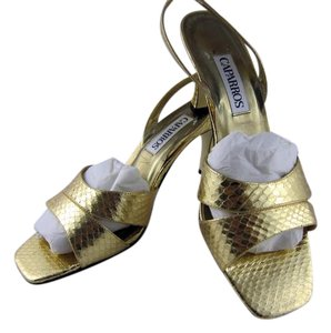 Caparros Metallic Sandal Handmade Gold Snake Formal