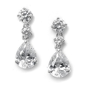 Mariell Classic Cz Teardrop Pear Wedding Earrings 660e