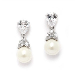 Mariell Silver Cz with Cz Pear and Pearl Drops 4490e-i-s Earrings