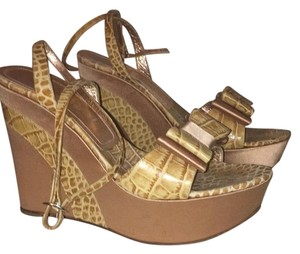 Casadei Rose Gold and Beige. Wedges