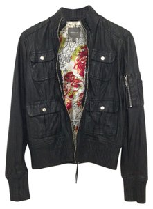 Kenna-T Bomber Ribbed Accent Leather Jacket