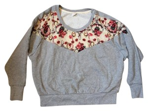 Free People Floral Lace Gray Sweater