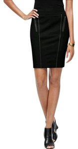 Ann Taylor Leather Pencil Work Classic Structured Skirt Black