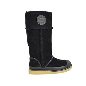Tory Burch Suede Leather Shearling Black Boots