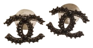 Chanel Black Chanel CC Logo Stud Earrings