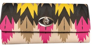 Coach Hawk Feather Print Slim Envelope Wallet with Pop-up Pouch
