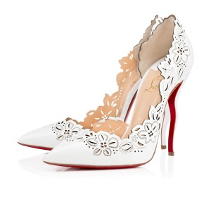 Christian Louboutin Floral Patent Leather Designer white Pumps