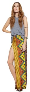 Novella Royale Casual Spandex Maxi Skirt Mustard Ethnic Floral