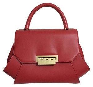Zac Posen Leather Satchel in Bright Red/Coral