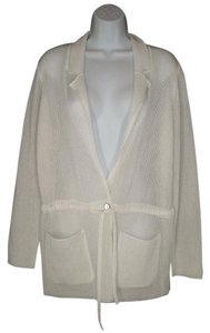 Escada Mesh Rayon Sheer White Cardigan