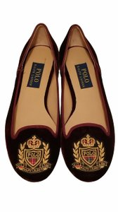 Polo Ralph Lauren Embroidered Velvet Comfortable Bordeaux Flats