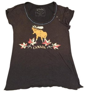 Free People Vintage Tshirt Moose Canada Top Washed black