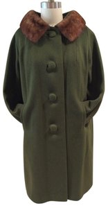 Michel Daniel Vintage Wool Mink Green Fur Coat