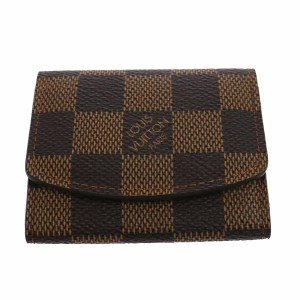 Louis Vuitton LOUIS VUITTON Brown Damier Ebene Canvas Bifold Card Case Holder