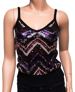 Trina Turk Chevron Sequined Merino Wool Petite Top Multi-color