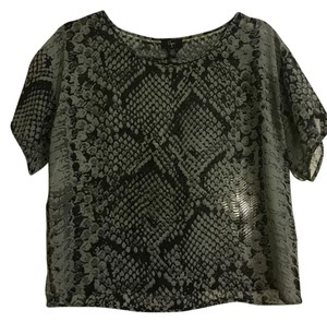 Aqua Sheer Blouse Concert Shirt Snakeskin Top Black, greenish, gray
