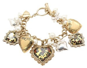 Betsey Johnson NEW Betsey Johnson Heart Lockets Faux Pearl Rhinestone Bracelet