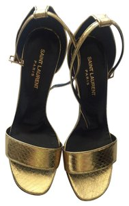 Saint Laurent Pewter Gold And Silver Metallic Sandals