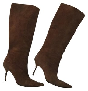 Gucci Knee High Brown Suede Boots