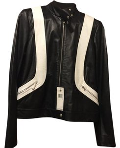DKNY Black/white Leather Jacket