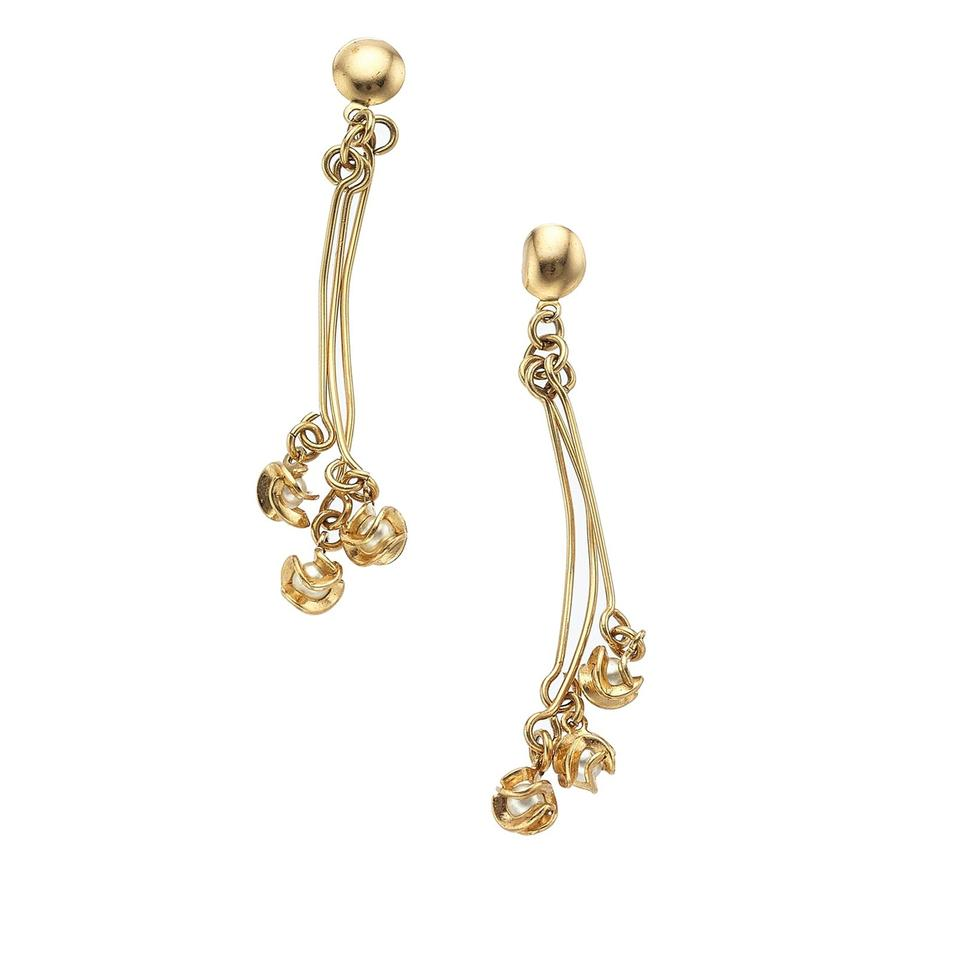 Gold Featuring Cultured Pearls Earrings