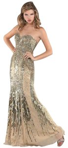 Jovani Beaded Sequin Sheer Evening Dress