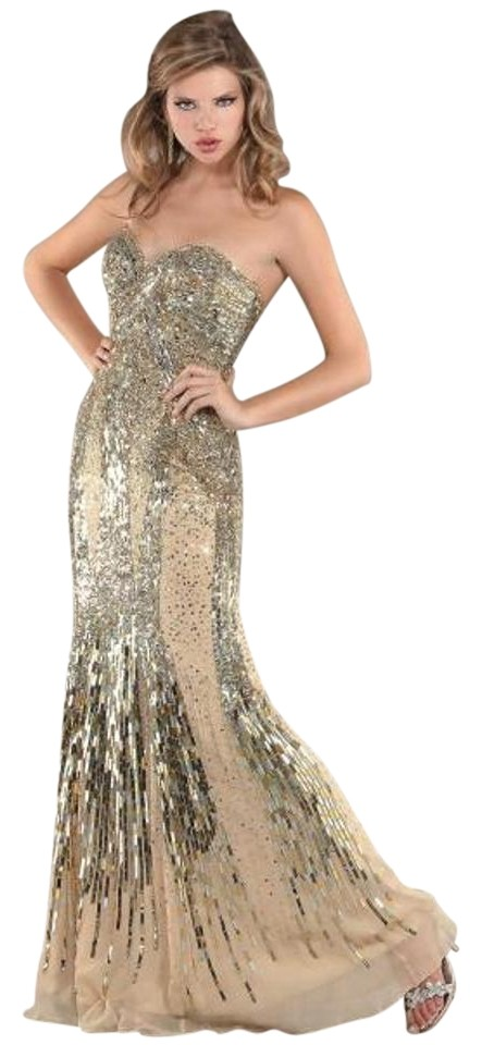 Jovani Gold/Nude Sequin Prom Evening 171100 Long Formal Dress Size 2 ...