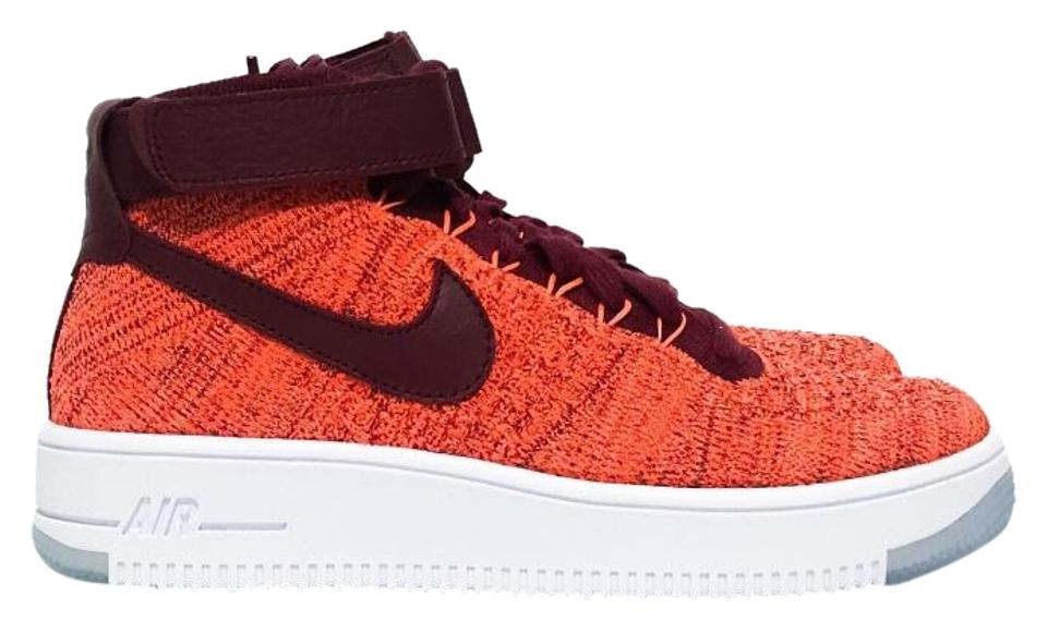 new arrivals 10e87 4b472 Nike Orange Oxblood Air Force 1 Flyknit Sneakers