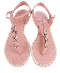 Chanel Cc Silver Hardware Chain Quilted Interlocking Cc Pink, Silver Sandals