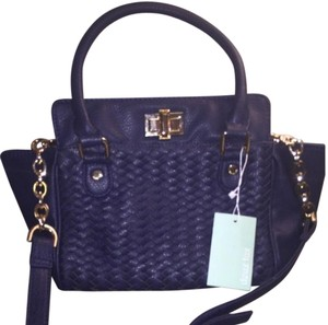 deux lux Cross Body Woven Faux Leather navy Messenger Bag