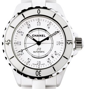 Chanel J12 WHITE 38M WITH DIAMOND MARKERS