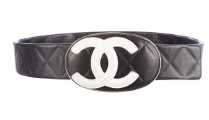 Chanel Black quilted leather Chanel Cambon white interlocking CC belt