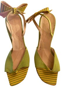 Kate Spade Heel Striped Green and yellow Pumps