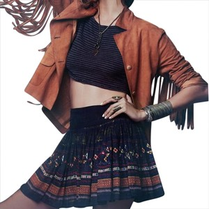 Free People Pleated Aztec Printed Swing Flowy Mini Skirt Green, Blue, Red, Orange, Yellow