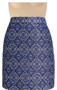 J.Crew Jacquard Indonesia Mini Mini Skirt Blue