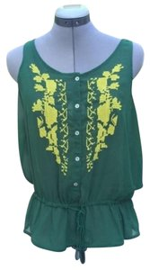 Joe Fresh Light Airy Sheer Boho Embroidered Top Green, Yellow