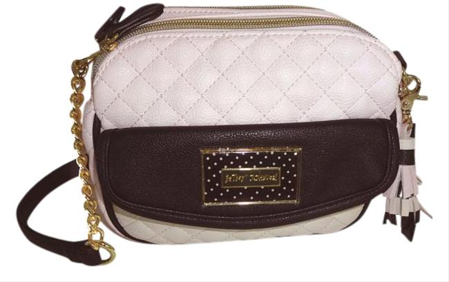 Betsey Johnson Quilted Diamond /Triple Compartment/ Blush Faux Leather Cross Body Bag Betsey Johnson Quilted Diamond /Triple Compartment/ Blush Faux Leather Cross Body Bag Image 1