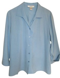 Next Level Apparel Silk Flowy 3/4 Sleeve Top Light Blue