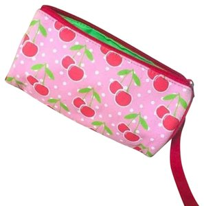Francesca's Pencil Case Cherry Print Wristlet in Pink, Red, Green, White
