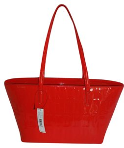DKNY Medium Size Faux Patent Leather Tote in RED