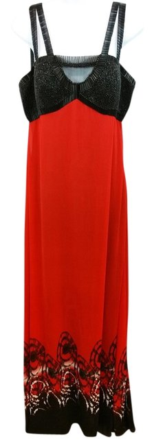 Item - Black and Red Embellished Evening Gown Long Cocktail Dress Size 10 (M)