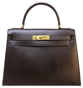 Herms Box Kelly Calfskin Tote in Havane