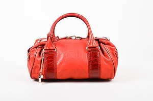 Balenciaga Leather Ostrich Leg Trim Rose Gold Hardware Whistle Satchel in Red