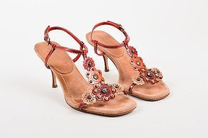 Miu Miu Red Brown Brown, Red, Orange Sandals