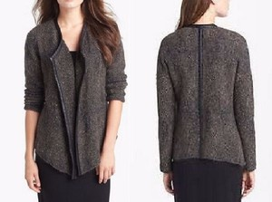 Eileen Fisher Leather Jacket Mohair Sparkle Cardigan