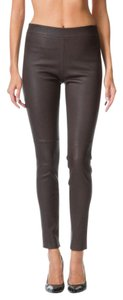 Theory Leather Adbelle Dark Brown Leggings